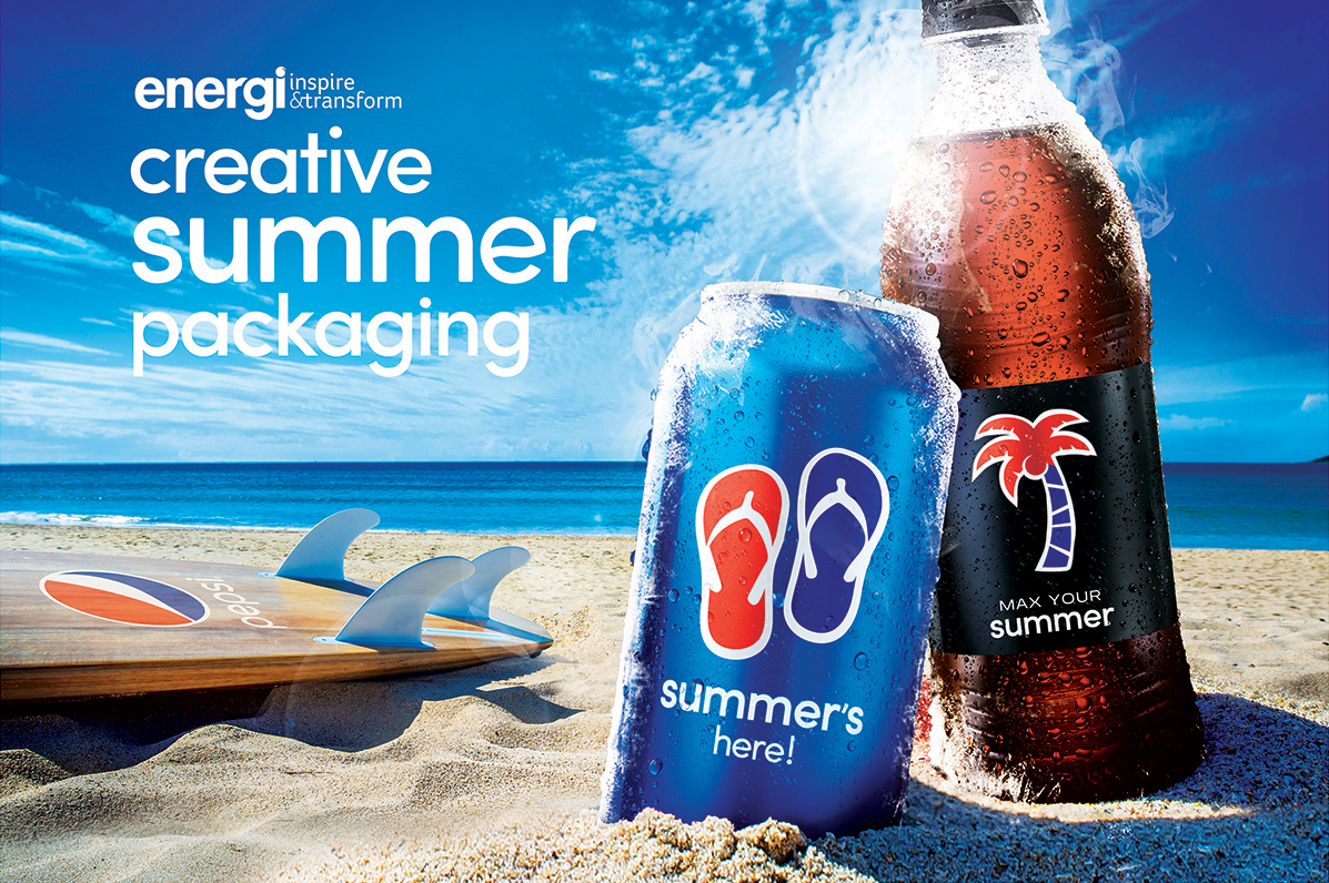 Energi Packaging Design Agency Specialists Creative Inspire Transform Pepsi Max Your Summer Campaign Can Bottle Label Beach Surfboard