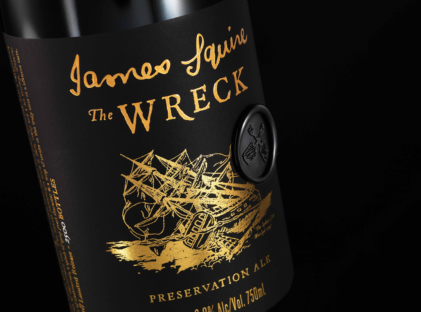 Energi Packaging Design Agency Specialists James Squire The Wreck Preservation Ale Beer Bottle Wax Seal Limited Release Closeup Label Design Product Photography