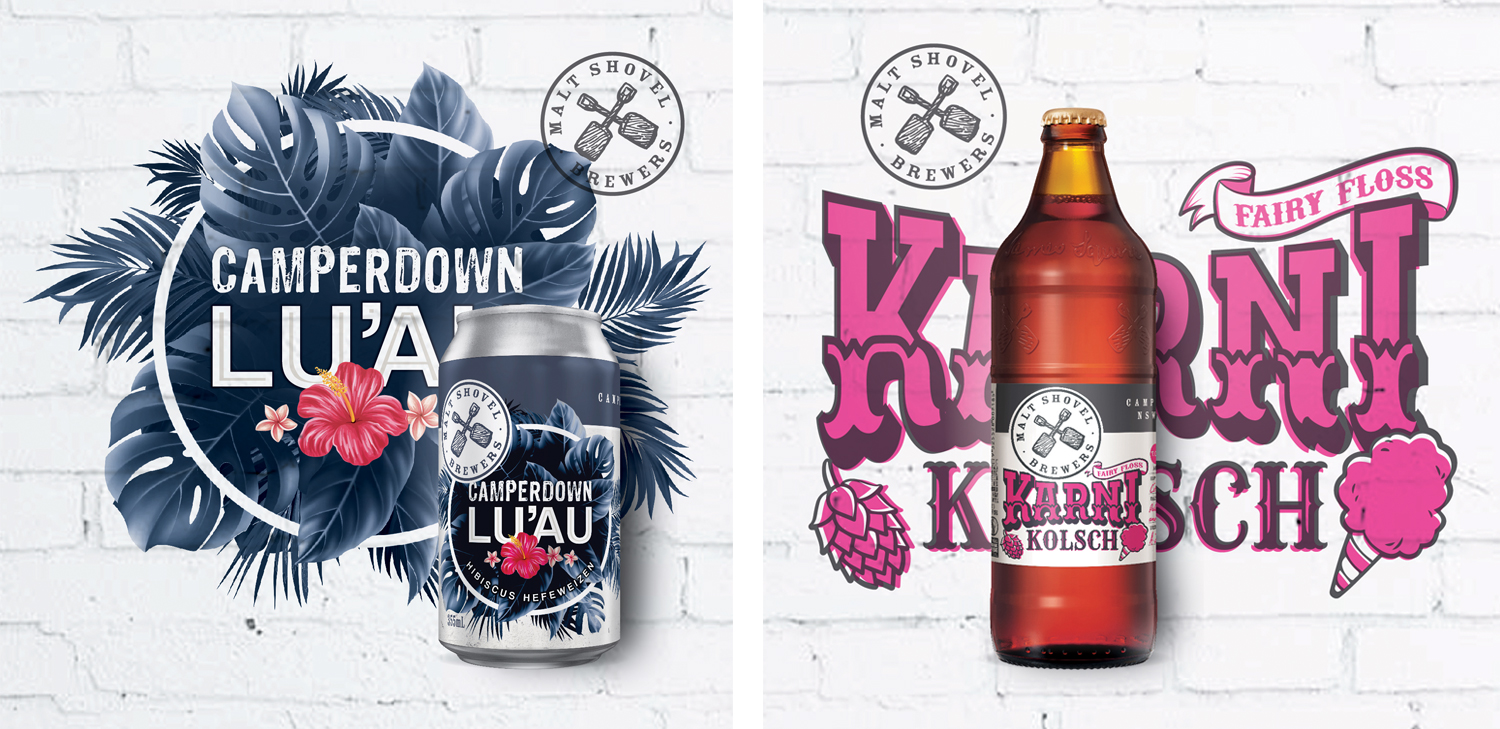 Energi Packaging Design Agency Specialists Malt Shovel Brewery Brewers Camperdown Luau Hibiscus Hefeweizen Karni Kolsch Fairy Floss Can Bottle Label Product Photography