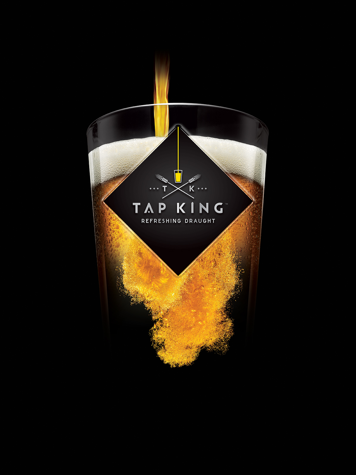 Energi Packaging Design Agency Specialists Product Photography Label Tap King Beer Draught Refreshing Glass Pour