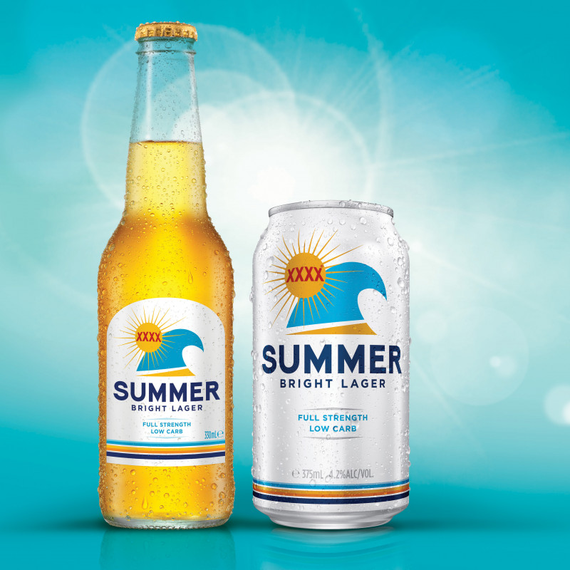 Summer Bright Lager bottle and can packaging design